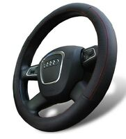 Genuine Leather Steering Wheel Cover For Mercedes Benz Universal Fit Black