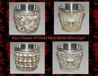 Gothic Skull Head Skull & Crossbones Bones Shot Cup Glass 4 Styles Awesome