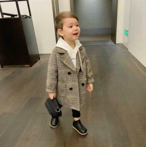 Boys Kids Double breasted Parka Check Wool Blend Coat Trench Jacket Overcoat New