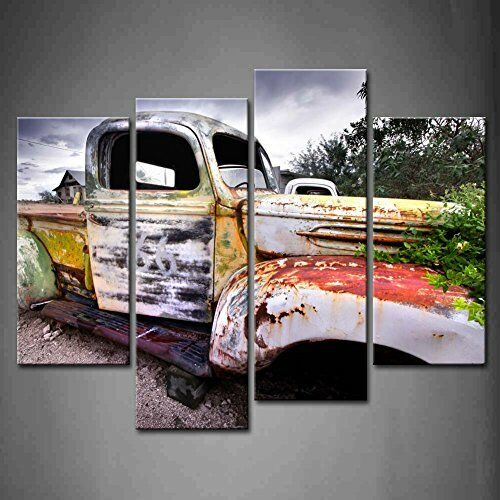 4 Panel Wall Art Wide Angle Shot of Old Rustic Truck Under Black Sky ...