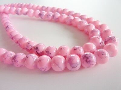 Drawbench Baking Transparent Glass Bead 8mm Round 106pce Hot Pink Free Postage