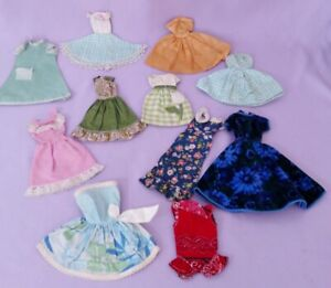 LOT-of-ANTIQUE-VINTAGE-DOLL-DRESSES-1960s-1970s