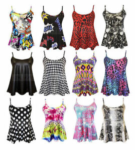 New-Womens-Ladies-Cami-Sleeveless-Swing-Vest-Top-Strappy-Flared-Plus-Size