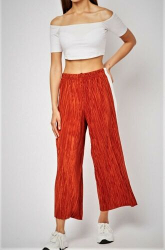 Womens Ladies Plisse wide Leg Cropped Pants Culotte Rust Pleated Sizes 12-14-16