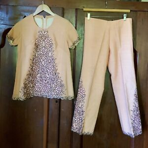 VINTAGE 40s 50s BEAUTIFUL Embroidered Pants Suit Set XS/S