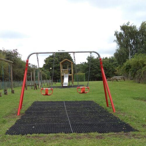 1 x Rubber Playground Swings Safety Mats Inc Fixing Pegs16mm Grass Matting