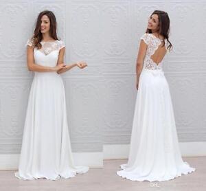 Chiffon Beach Wedding Dresses Lace Chiffon Open Back Bridal Gowns ...