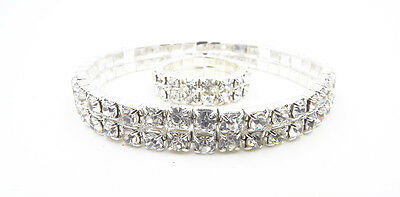 Fashion Jewelry Jewelry Sets New Sparkling 2 Row Silver Crystal Rhinestone Bracelet & Ring Set #2rowbclt-ring Activating Blood Circulation And Strengthening Sinews And Bones