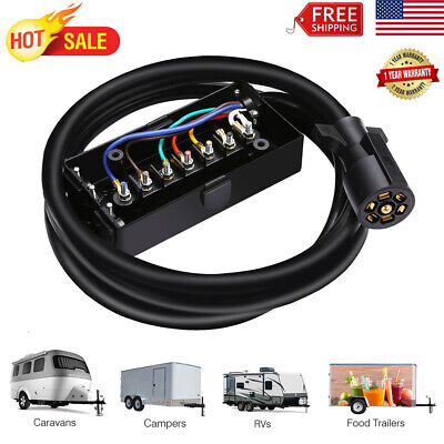 7-Way Trailer Cord With Junction Box Truck Camper RV Cable Wire Weatherproof 8/'