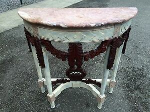 Unique Entry Tables vintage french side table ornate carved pink marble white antique