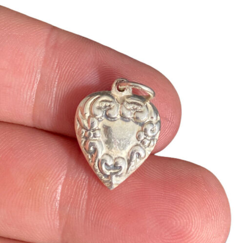 Sterling Heart Charm Puffy Ornate Swirl Motif Vint