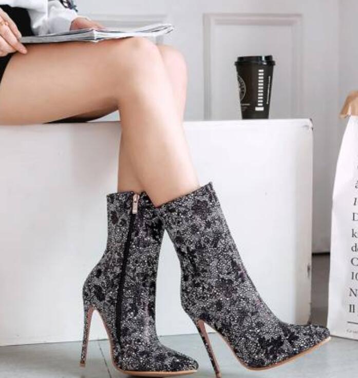 Mujeres Floral Rhinestone Mitad de Pantorrilla Bota Puntera Puntera Puntera Puntiaguda Stilettos Tacón Alto Zapatos UK  ventas en linea