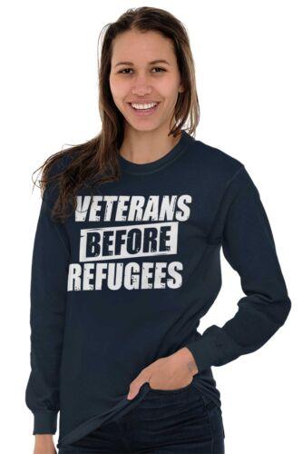 Veterans Before Refugee Shirt USA American Flag VFW Army Cool Long Sleeve Tee