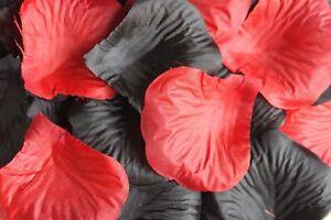 100-x-rouge-et-noir-petale-de-rose-en-soie-Decoration-de-table-Mariage-Confetti