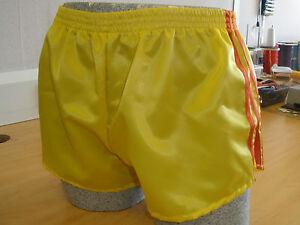 Retro Nylon Satin Football Shorts S to 4XL Black Yellow