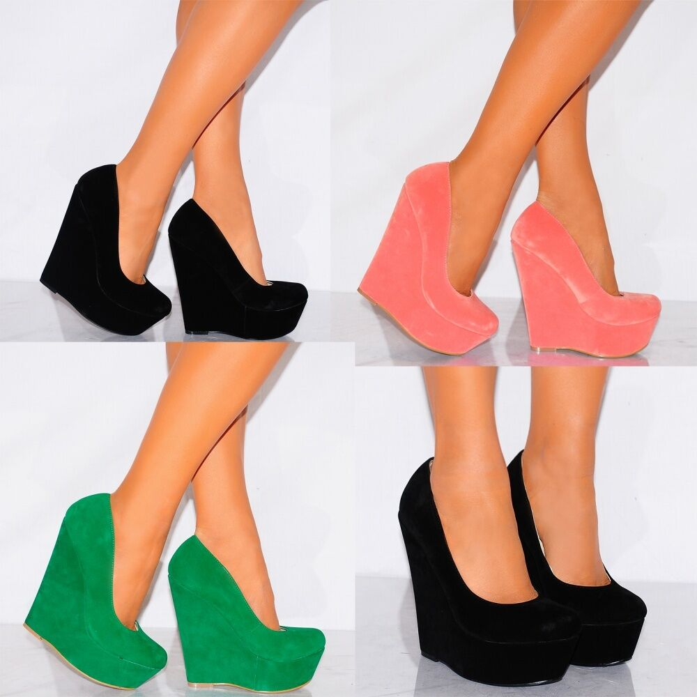 BLACK WEDGED HIGH PLATFORMS WEDGES COURT SHOES HIGH WEDGED HEELS SHOES PARTY PROM SIZE 3-8 8d741a