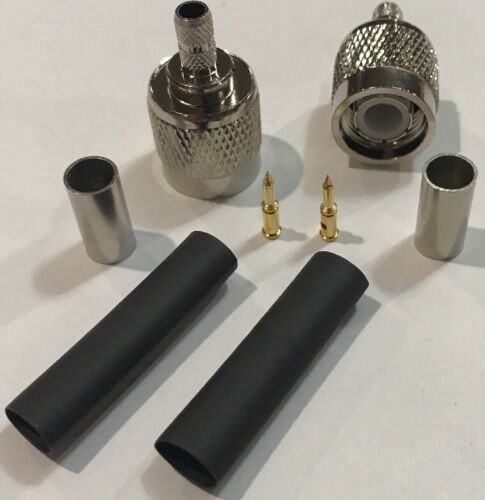 2 PackTNC Male Plug Crimp RG58 RG142 RG400 RFC195 RF Connector Fast USA Shipping