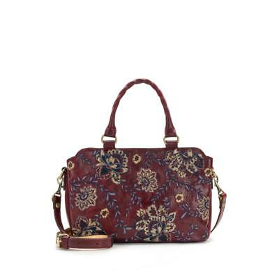 Patricia Nash Angelin Embroidered Leather Satchel with Matching Scarf Red NWT