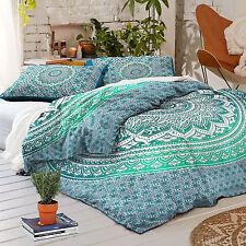 100% Cotton 4 Piece Indian Ombre Mandala Duvet Bed in a Bag Queen Bedding Set