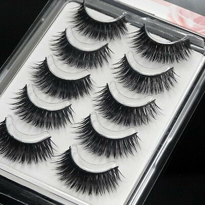 Long Black Soft Fake Eye Lash Extension Thick Handmade False Eyelash 5 Pairs