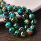 New 10pcs 12mm Round Glass With Color Coated Loose Spacer Beads Green&Blue