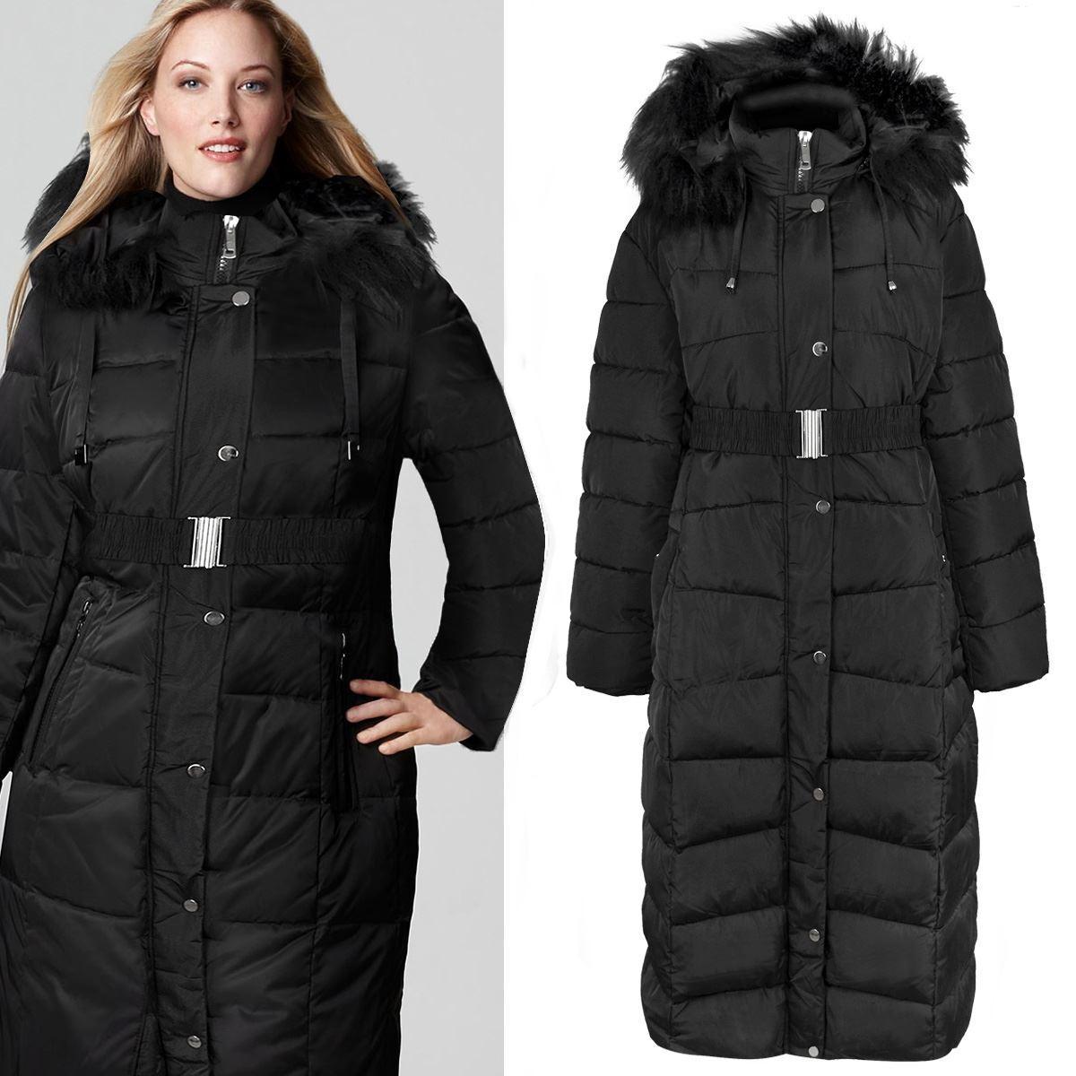 Neue Damen Damen Plus Size Lange gesteppte Winterjacke Mantel Fell Kapuze