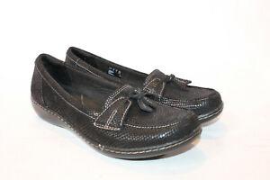 Clarks-9-5-medium-black-snake-Slip-on-Loafers-shoes-Ashland-Bubble