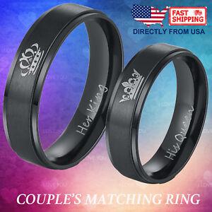 Bien Informé Couple Matching Ring Son Roi Ou Sa Reine En Acier Inoxydable Mariage Bande-afficher Le Titre D'origine Forte RéSistance à La Chaleur Et à L'Usure