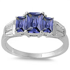 Radiant Cut Tanzanite /& Cubic Zirconia .925 Sterling Silver Ring Sizes 6-10