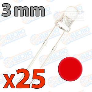 25x LED 3mm ROJO Alto Ultra Brillo ultrabright 20mA diodo diode red