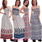 Abito donna lungo bandeau fantasia vestito estivo copricostume nuovo 313