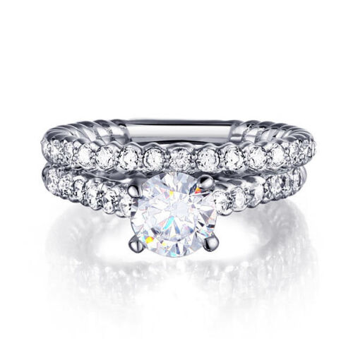 ROUND 925 STERLING SILVER CZ WEDDING ENGAGEMENT BAND RINGS SET SIZE 5-9 SS2069