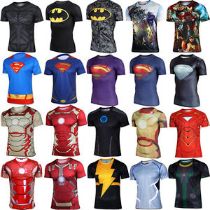Marvel-DC-Comics-Superhero-Action-Figures-Compression-Cycling-T-shirt-Jersey-Top