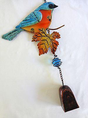 "BLUE BIRD WINDCHIME 12"" Maple Leaf Glass Belly Metal Bell Yard Decor New"