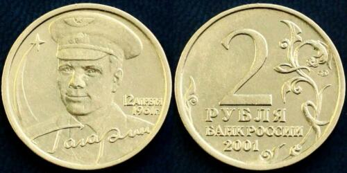 RARE RUSSIAN COIN 2 RUBLES 2001 40th ANNIVERSARY SPACE FLIGHT GAGARIN