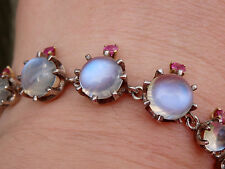 ANTIQUE VICTORIAN STERLING SILVER BRACELET WITH MOONSTONE AND RUBIES