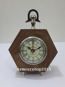 Collectible Tortoise Style Table Top Desk Chrome Clock Watch A Christmas Gift Antiques