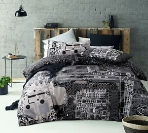 Accessorize-Computer-Power-Silver-100-Cotton-Quilt-Doona-Cover-Set-QUEEN-KING