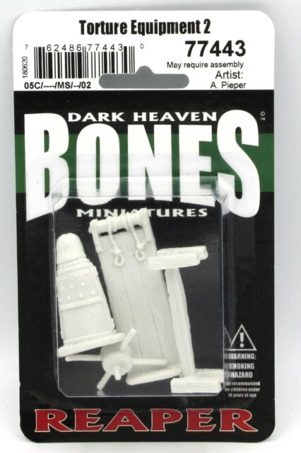 Reaper 77443 Torture Equipment 2 (Bones) Dungeon Terrain Rack Iron Maiden NIB