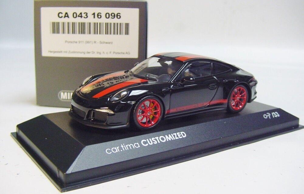 1 43 Minichamps 2016 Porsche 911 991 R nero rosso Coche. Tima Personalizado le 33 PCS.