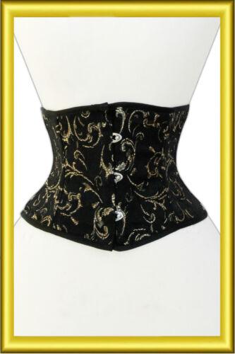 Taillen korsett corsage aus Brokat schwarz Gold Gr 34,36,38,40,42,44,46,bis 56
