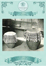 Vintage crochet pattern-how to make lace & beaded milk jug & sugar bowl covers