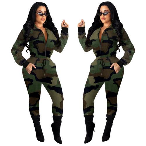 Als151 Woman Tracksuit camouflage Printed Long Sleeve Zipper Hoodie+Pant