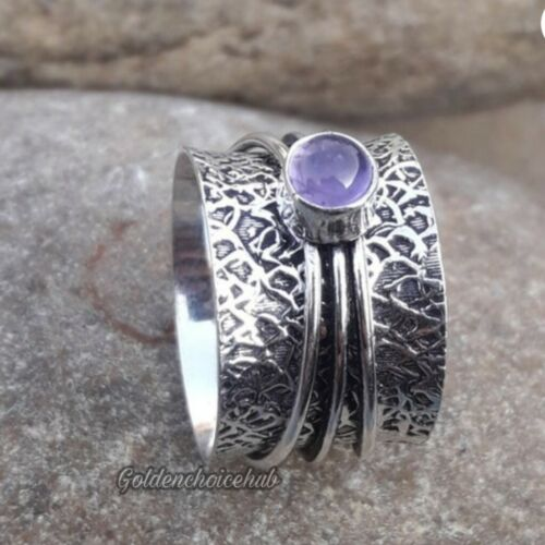 Bague toutes tailles-vi-124 fait main 925 Sterling Silver Band /& Tanzanite Spinner