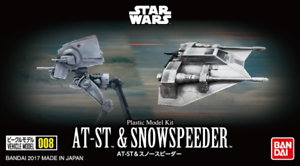 Bandai-Star-Wars-Vehicle-Model-008-AT-ST-amp-Snowspeeder-Model-Kit-Sealed-New