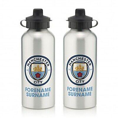 Manchester City F.c - Personalised Aluminium Water Bottle (bold Crest)