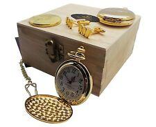24k Gold Clad JAMES BOND 007 Pocket Watch Coin Cufflinks LUXURY 24K Gift Set