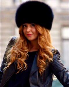 Chapka-Chapeau-Bonnet-Fourrure-Noir-Lux-Renard-Femme-Tete-55-57cm-Elegante-Chic