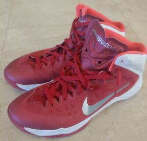 Nike-Zoom-Hyperquickness-Athletic-Basketball-Shoes-Red-White-Men-039-s-Size-13