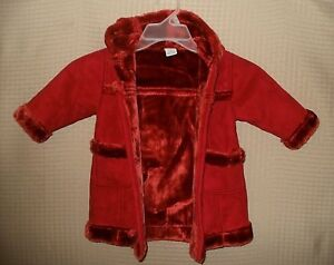 1a91db3b872a BABY GAP Girls Baby Long Rust Color Winter Coat  Matching Mittens ...